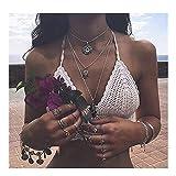 Anglacesmade Gargantilla de Bohemia con capas, collar de hoja de Hamsa, collar de moneda, colgante de mano de Hamsa, collar para mujeres y niñas