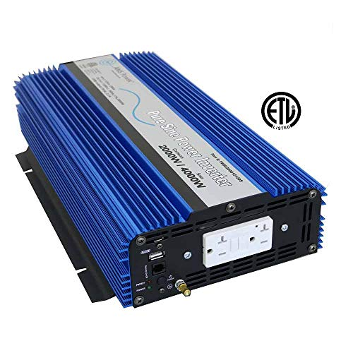 AIMS 2000 Watt, 4000 Watt Peak, Pure Sine DC to AC Power Inverter, USB Port, 2 Year Warranty, Optional Remote, Listed to UL 458