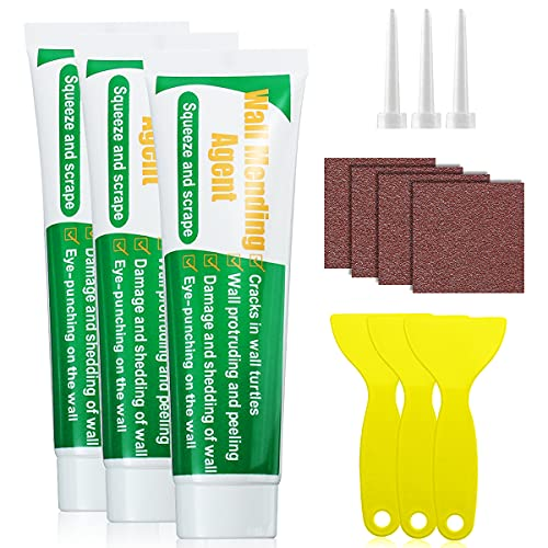 3Pack Wall Mending Agent, GAMTOOCA Drywall Patch Repair Kit with Free Scraper Wall Safe Mend, Drywall Repair Putt Quick & Easy Solution to Fill The Holes Home Wall,Wood & Plaster(300g)