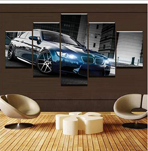 Leinwand Gedruckt Poster Wohnkultur 5 Stücke M3 Schwarz Sport Auto Gemälde Wandkunst Bilder Wohnzimmer Modulare D