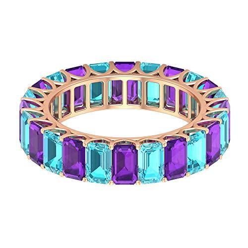 Rosec Jewels 10 quilates oro rosa Octagone violeta Blue Amethyst Topacio azul - Suizo