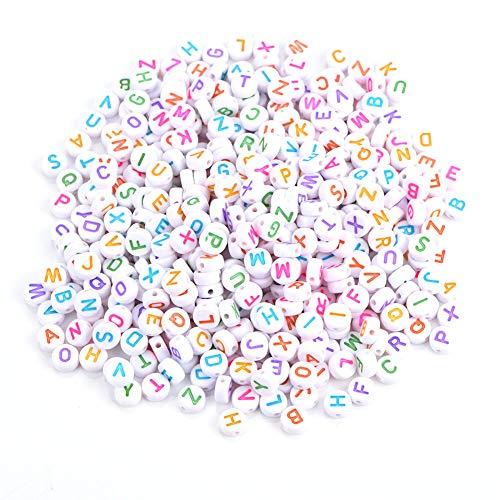 Caiqinlen Abalorios de Letras, tamaño Uniforme 7 Colores Abalorios de Letras Redondas Muy Bien Impresas para Collares para Pulseras