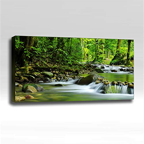 Green Streams - Ready Made 4'x2'x2' Acoustic Art Panel : Includes all Mounting Hardware.
