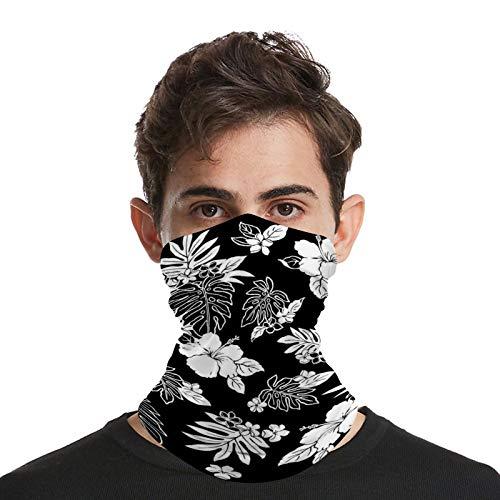 DKE&YMQ Bandana unisex para la cara, multifuncional, patrón de flores, elástico y transpirable, bufanda deportiva, pasamontañas, patrón de estilo blanco, línea de pétalo, arte
