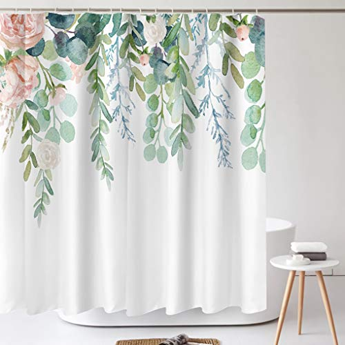 Tititex Aesthetic Blooming Floral Tropical Shower Curtain Sets, Watercolor Pink Flowers and Green Leaves On the Top Bathroom Decorative 70 X 70 Inch Polyester Waterproof Fabric Bath Curtain with Hooks