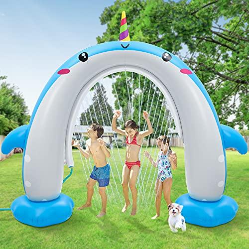 Inflatable Water Sprinkler, Upgraded Unicorn Whale Sprinkler for Kids More Stable Inflatable Water Toys Summer Outdoor Play Sprinkler Outside Backyard Birthday Party Arch for Boys Girls Children