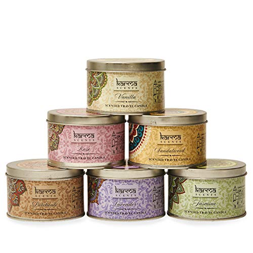 Karma Scents Scented Candles Variety Gift Pack, Lavender, Vanilla, Rose, Jasmine, Sandalwood, Patchouli, Set of 6 Different Scents