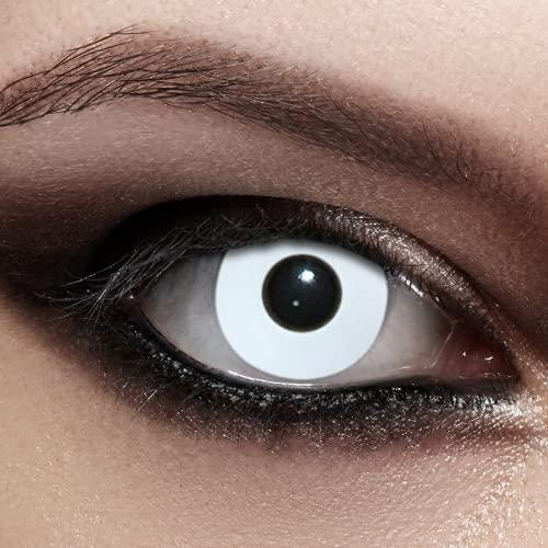 Designlenses Weiße Kontaktlinsen für Halloween-Kostüm als Zombie, Karneval, Fasching & Cosplay - 2x farbige Augenlinsen inkl. Contact Lenses Behälter