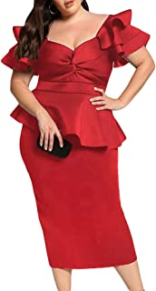 Womens Plus Size Ruffle Sleeve Peplum Cocktail Party Pencil Midi Dress