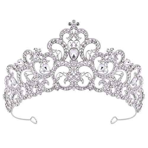 Couculand Hochzeit Braut Tiara Königin Kristall Diadem Vintage Prinzessin Krone Strass Abschluss Damen Festzug Fasching Kostüm Haare Accessoires (Silbern, Metalllegierung)