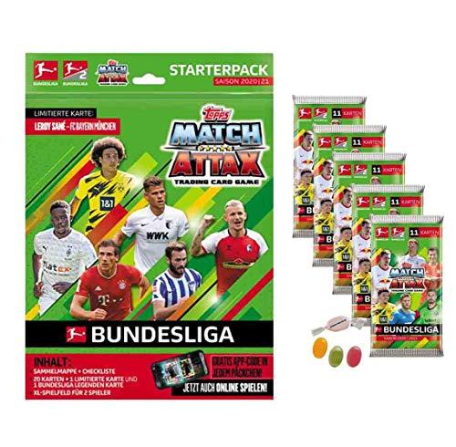 Topps Match Attax Bundesliga 2020/2021 - Starterpack + 5 Booster je 11 Cards zusätzlich 1 x Sticker-und-co Fruchtmix Bonbon