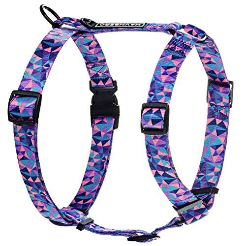 HAVNBERG Brustgeschirr für kleine Hunde oder Welpen in Größe S mit einem Brustumfang von 38 cm bis 54 cm im geometrischen Watercolor Design; in den Farben lila, rosa, pink und blau; Größenverstellbar