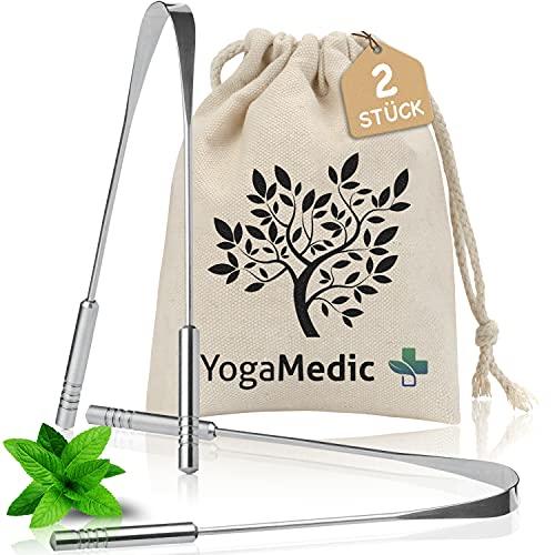 YogaMedic® Zungenreiniger [2x] gegen Mundgeruch - 100% Edelstahl, natürlich antimikrobiell - Ayurveda Zungenschaber Zungebürste inklusive Baumwollbeutel
