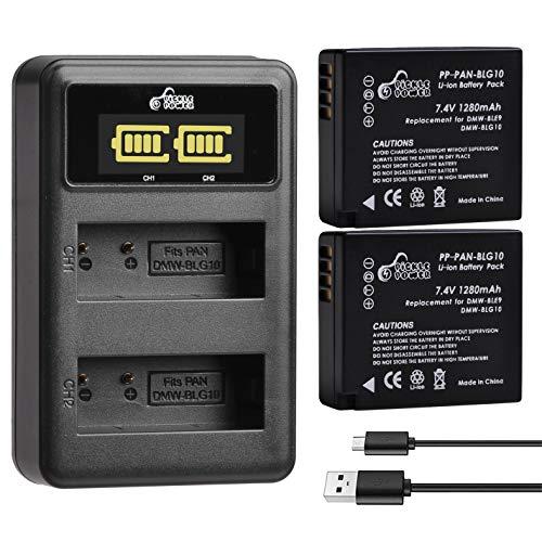 DMW-BLG10 DMW-BLG10PP DMW-BLE9 Batteries and Battery Charger for Panasonic Lumix DMC-GF3, DMC-GF5, DMC-GF6, DMC-GX7, DMC-GX85, DMC-LX100, DMC-ZS60, DMC-ZS100