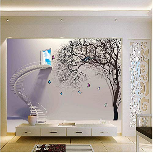 Xbwy Decorativo Mural Pegatina Escaleras De Dibujos Animados Ventana Árbol Natural 3D Foto Papel Pintado Mural Sala De Estar Pintura Niños Dormitorio-280X200Cm