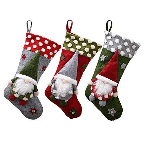 Steadyuf 3er Set Weihnachtsstrümpfe Weiche Bequeme Weihnachtsmann-Geschenkkarten-Taschenhalter für Weihnachtsbaumschmuck
