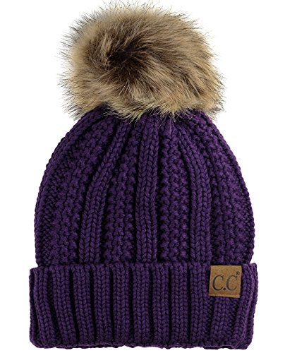 C.C Thick Cable Knit Faux Fuzzy Fur Pom Fleece Lined Skull Cap Cuff Beanie, Purple