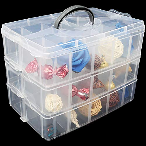 """2 Pack 3-Tier Stackable Storage Container Box, Crafts Storage Box with 30 Adjustable Compartments, Plastic Organizer Box for Arts and Crafts, Toy, Fuse Beads, Washi Tapes, Jewelry - 9.4""""x6.5""""x7.2"""""""