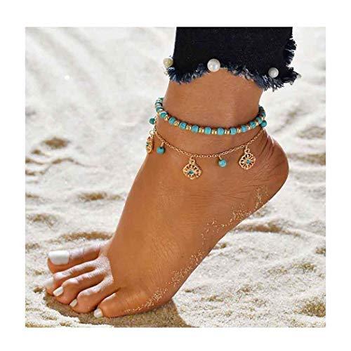 Edary Boho Turquoise Anklet gouden kwast enkel armband kralen voet sieraden voor vrouwen en meisjes (2st)