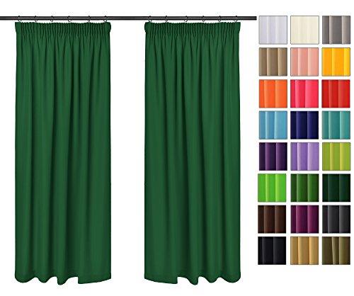 Rollmayer Vorhänge mit Bleistift Kollektion Vivid (Smaragdgrün 46, 135x240 cm - BxH) Blickdicht Uni einfarbig Gardinen Schal für Schlafzimmer Kinderzimmer Wohnzimmer