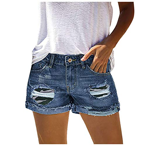 AIchenYW Women's Plus Size Ripped Hole Denim Shorts with Pockets Ladies Basic Comfy Solid Color Frayed Raw Hem Stretch Washed Mid Waist Jean Pants Butt Lifting Slimming Rollup Half Shorts Hot Pants