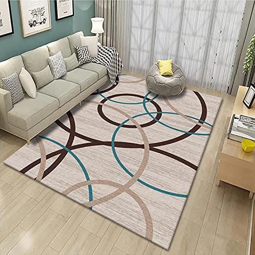 CLYDX Alfombras Salon Habitación Alfombra Pasillo Lavables Rug Dormitorio Sala de Estar Alfombra Antideslizante Alfombra para el Juego de los niños Decora el 120x160 cm (Línea geométrica)