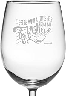 Fineware I Get By With A Little Help From My Wine - 19 oz Large Etched ARC Wine Glass - Gift for Her