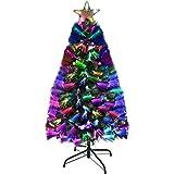 Holiday Essence Fiber Optic Christmas Tree 3 Foot, Prelit Artificial Tree with 100 Multi...