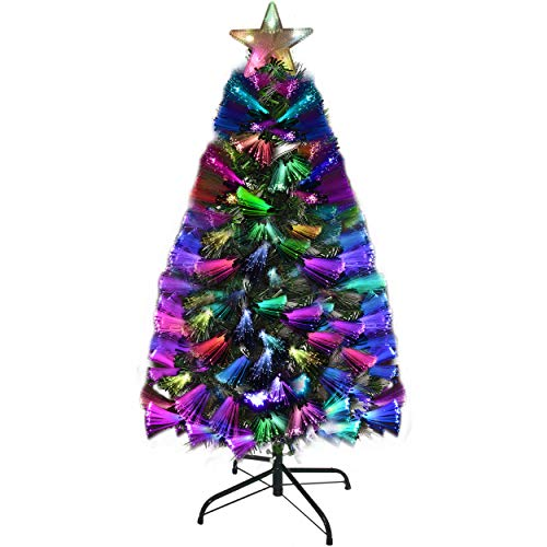Holiday Essence Prelit Fiber Optic Christmas Tree, 5 Foot Artificial Tree with Multi Color LED Lights, Flashing Star Tree Topper and Metal Stand