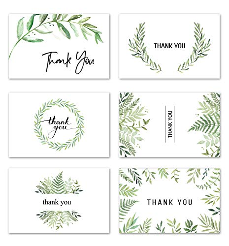 VEEYOL 42 Thank You Cards with Envelopes, 4x6 Inch Watercolor Foliage Thank You Notes For Wedding, Baby Shower, Graduation, Bridal, Business, Anniversary