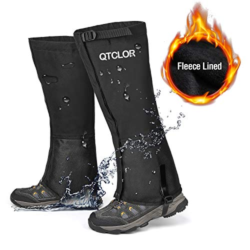 QTECLOR Leg Gaiters Waterproof Snow Boot Gaiters for Snowshoeing, Hiking, Hunting, Running, Motorcycle Anti-Tear Oxford Fabric, TPU Instep Belt Metal Shoelace Hook for Outdoor (Black Fuzzy Lined, L)