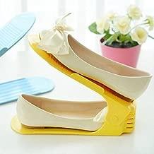 YUTIRITI 2 Pc Portable Shoe Stand Rack Organizer Shoe Storage Holder (Color-Yellow)