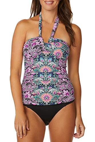 Leilani Women's Halter Tankini Swimsuit Top, Fun Floral, 6