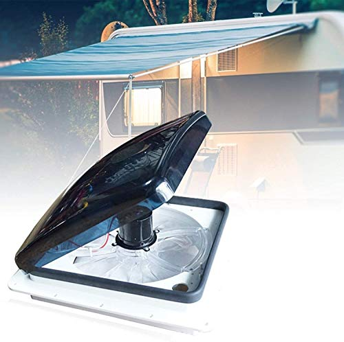 PaNt Ventilador de techo para autocaravana de 12 V con entrada y escape de 3 velocidades, elevador de manivela eléctrico y tapa de humo, incluye tornillos y adornos para camioneta, camioneta