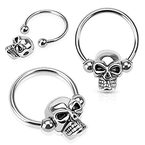 Pierced Owl Pair of Skull Nipple Rings 14g Captive Bead Rings 316L Surgical Steel - Sold as Pair