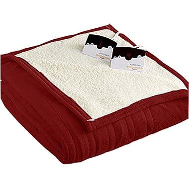 Biddeford 2063-9052140-300 MicroPlush Sherpa Electric Heated Blanket Queen Brick