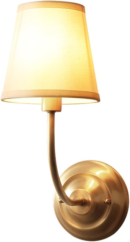 Xiuxiu Einfache moderne Wohnzimmer Flur Kupfer Wandleuchte europischen Schlafzimmer Nachttischlampe Frontlampe amerikanischen Kupfer Beleuchtung