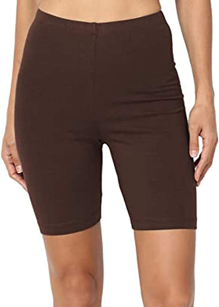 SUNTIN 2021 Sport Yoga Solid Mid Thigh Stretch Cotton Span High Waist Active Short Leggings