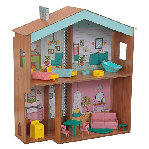 KidKraft Designed by Me: Color Decor Wooden Dollhouse with Removable Coloring Book, 5 Markers and 15 Accessories, Gift for Ages 3+