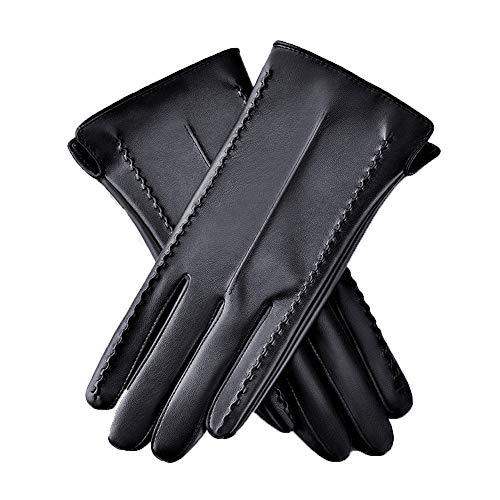 Axdwfd Gants en Cuir for Femmes d'hiver Riding Warmth Plus Velvet Épaississants (Size : M, 款式 Style : Three Lines)