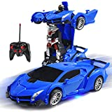 Olabeno RC Car Robot for Kids 2.4GHz Transforming Robot Remote Control Car with One-Button Deformation & Realistic Engine Sounds and 360°Speed Drifting 1:18 Scale Best Gift for Child (Blue)