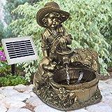 AMUR Garten Brunnen Solar KNABE mit Hund am BRUNNEN Teichpumpe Solar Springbrunnen Gartenbrunnen Wasserspiel Set Solar Pumpe Teichpumpe für Terrasse Teich Garten Gartenteich Solarteichdekoration