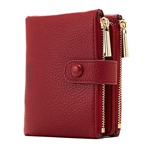 Damen Geldbeutel,PU Leder Portemonnaie Kleine Brieftasche Geldbörse Für Frauen (Rot)