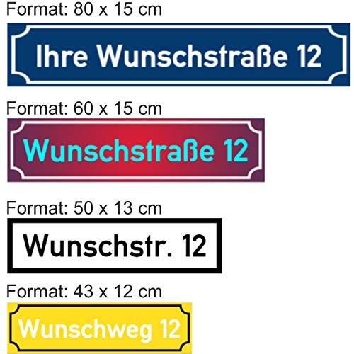 SCHILDER HIMMEL 2mm starke Metall Straßen Namen Schilder, Straßenummern/Straßennamen Schild, wetterfest, nichtrostend, Adressschild, Hausnummer Schild, hier Größe 50 x 13 cm