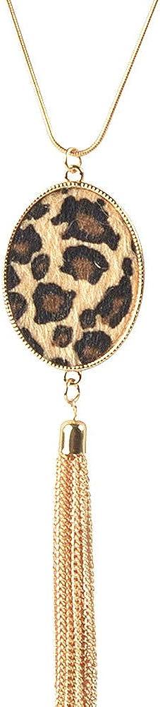 COLORFUL BLING Long Necklace for Women Leopard Quatrefoil Pendant Necklace Bohemia Fringe Tassel Necklaces Y Chain Necklace Fashion Jewelry