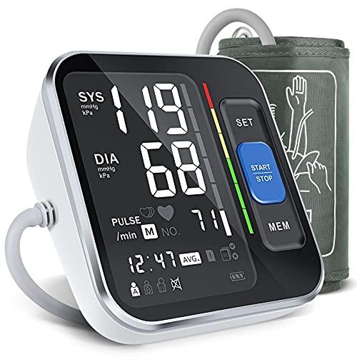 Tensiómetro, tensiómetro de brazo con detección de arritmias, brazalete (22-40cm), pantalla grande y 2x120 espacios de almacenamiento.