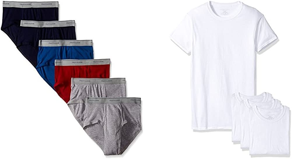 Fuit of the Loom Men's Fashion Brief (6) & Premium Crew Tee (4) Bundle