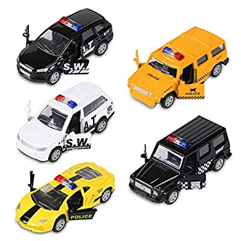 KIDAMI Die Cast Metal Little Toy Cars Set of 5 Openable Doors Pull Back Car Gift Pack for Kids  Police car