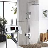 Grifos de ducha Grifo baño Negro esmerilado de la ducha de lluvia del grifo de bañera pared de la ducha Conjunto de ducha mezclador grifo de la ducha Sistema de Ducha