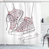 Diseño de cortina de ducha por lunarable, zapatos con flores patrón Teenage las niñas zapatillas flores y pájaros Retro Urban, cuarto de baño Set de decoración de tela con ganchos, seca rosa blanco